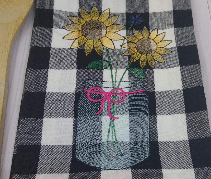 Sunflower kitchen towel,  embroidered